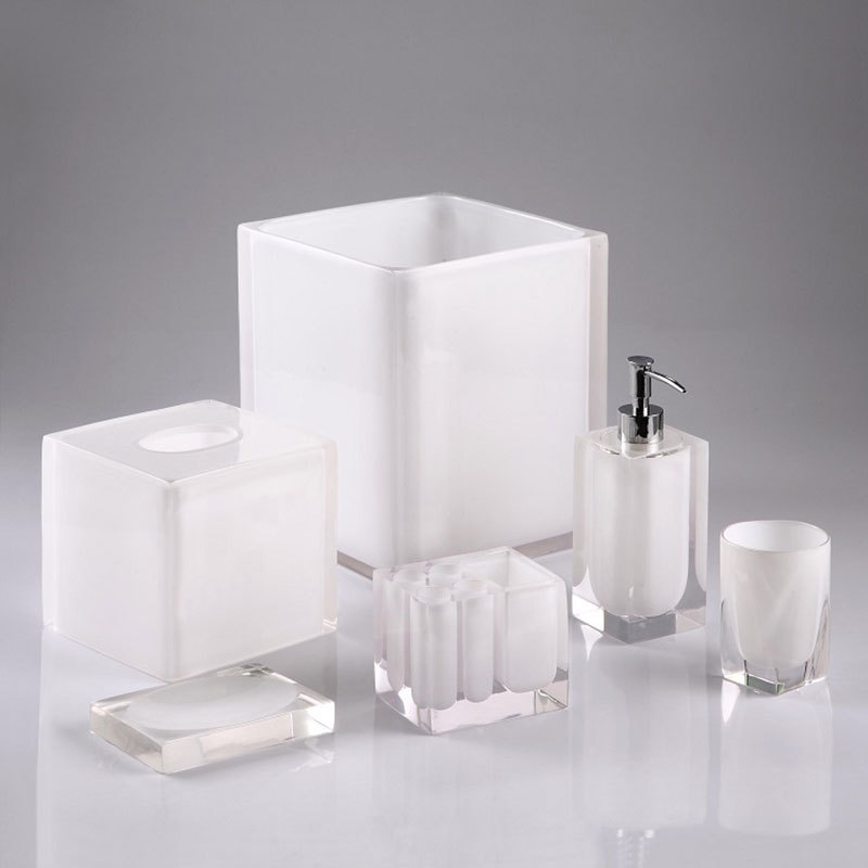 100% Clear resin bathroom set Automatic soap dispenser toothbrush holder