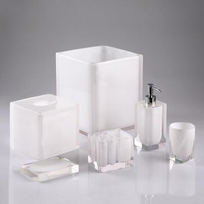 100% Clear resin bathroom set Automatic soap dispenser toothbrush holder