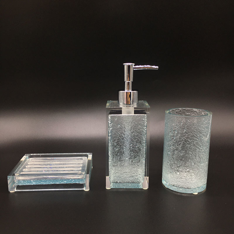 Elegant 100% Clear resin bathroom set Automatic soap dispenser Set