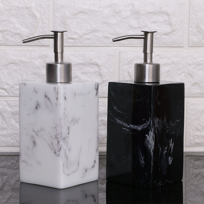 Elegant Marble Resin Bathroom Touch Sanitizer Soap Dispenser set
