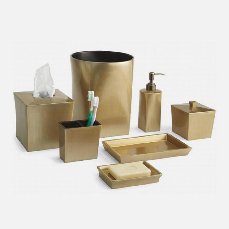 Luxury Gold Brushed resin Bathroom Accessories Set