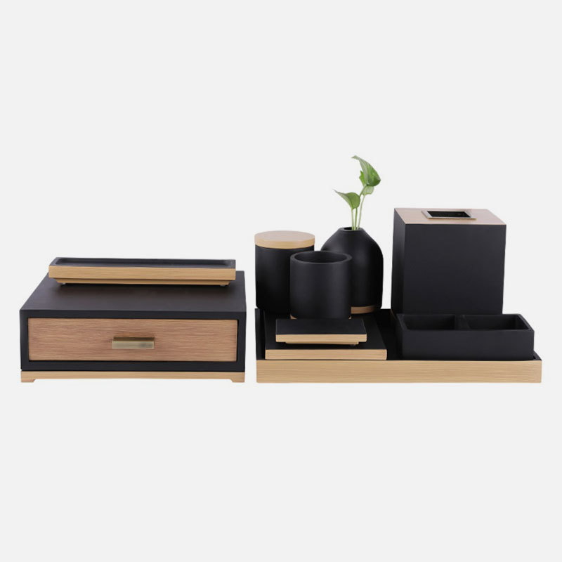 Elegant Matte Black and wood like resin Bathroom Accessories Set for Five Star Hotel