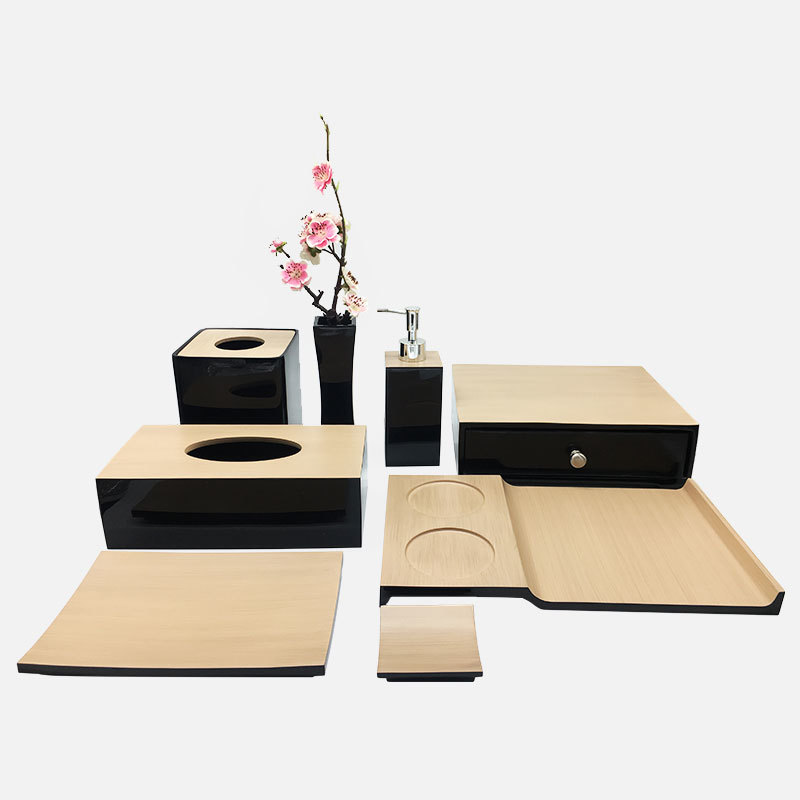 Luxury Black with wood like resin Bathroom Accessories Set for Five Star Hotel