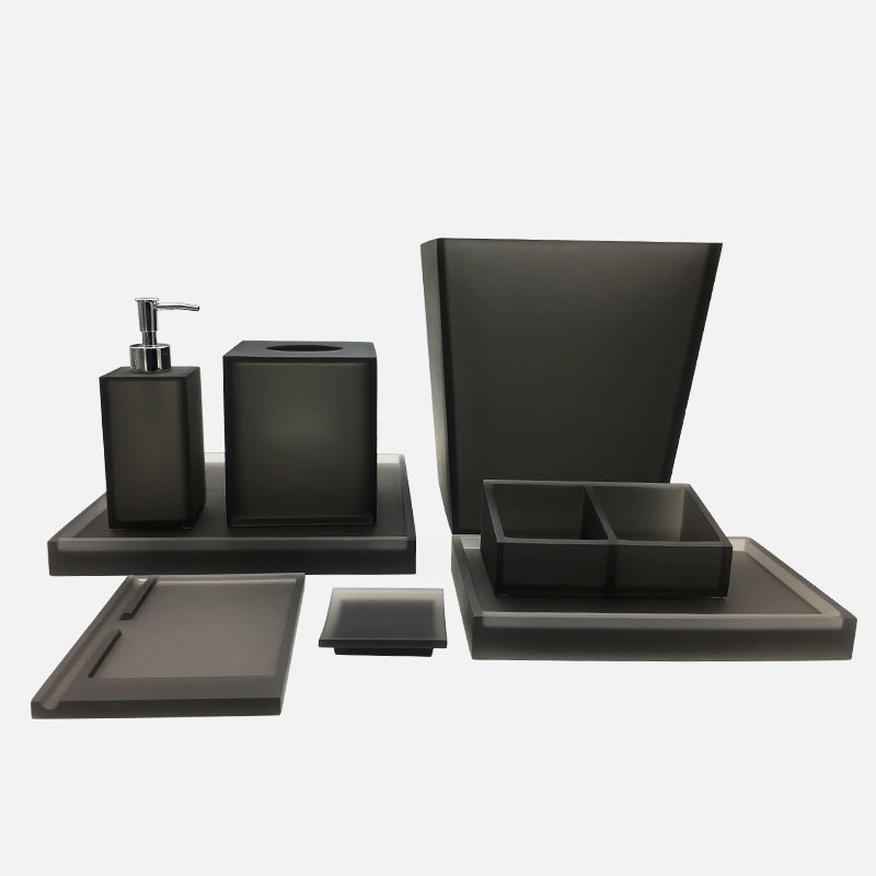 Luxury Matte Grey 100% resin Bathroom Accessories Set for Hotel Supply