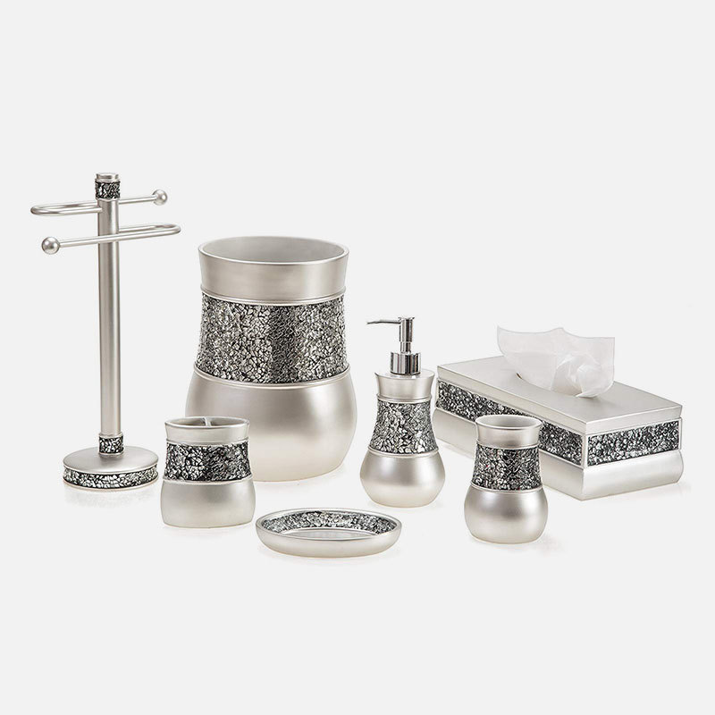 Silver Glass Mosaic resin Bathroom Accessories Set for Home decor