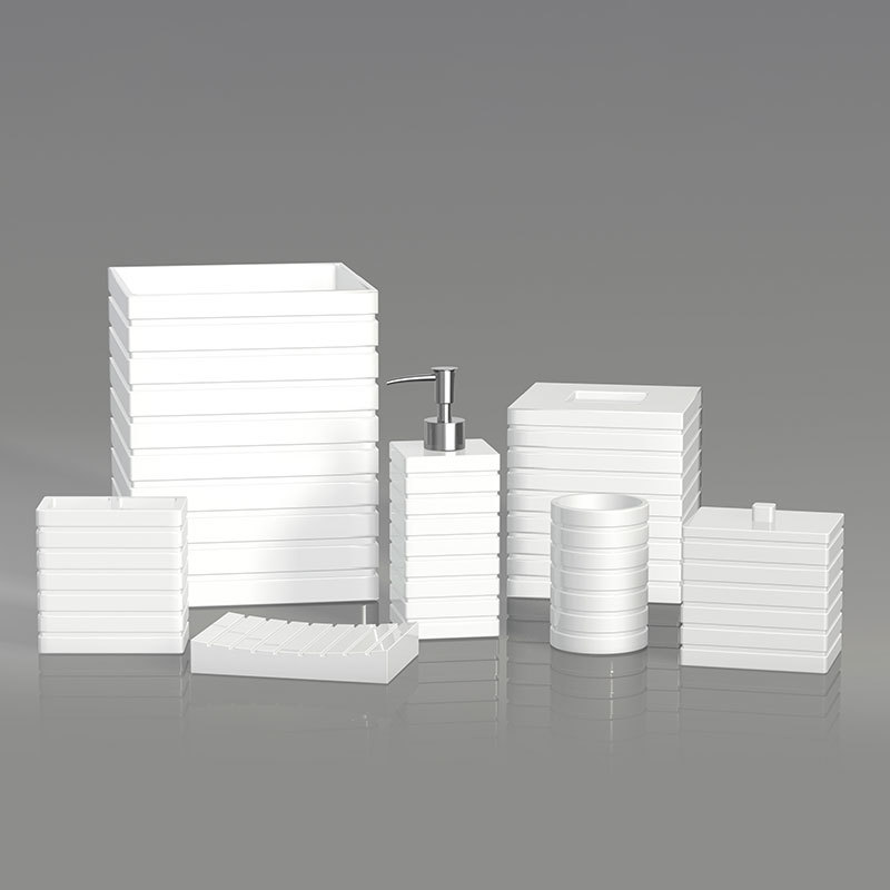 Modern lines White resin Bathroom Accessories Set
