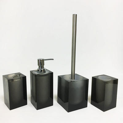 Luxury 100% Clear resin bathroom set Automatic soap dispenser toothbrush holder set