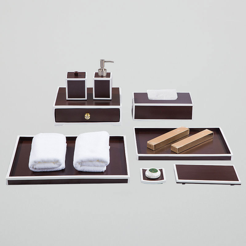 Luxury Brown with white lines resin Bathroom Accessories Set for Five Star Hotel