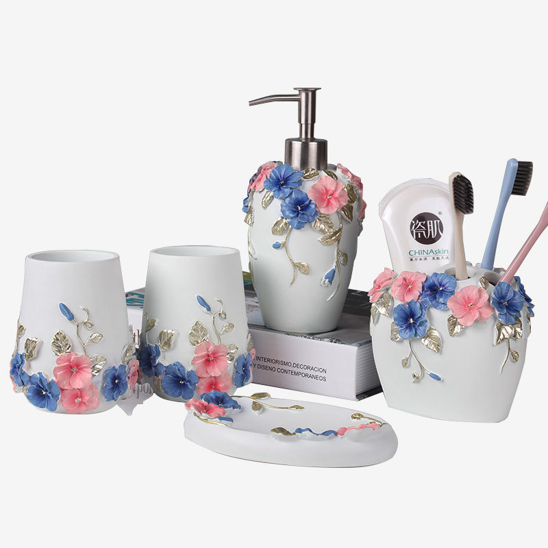 Hand painted Blue Flower Resin Bathroom accessories set