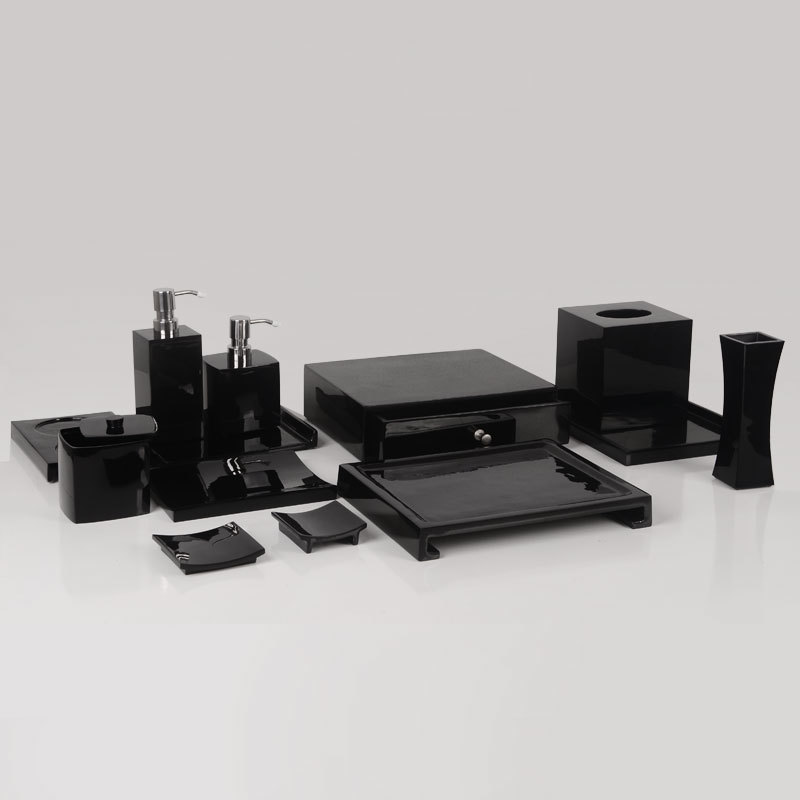 Luxury HOTEL polished Black resin Bathroom Accessories Set
