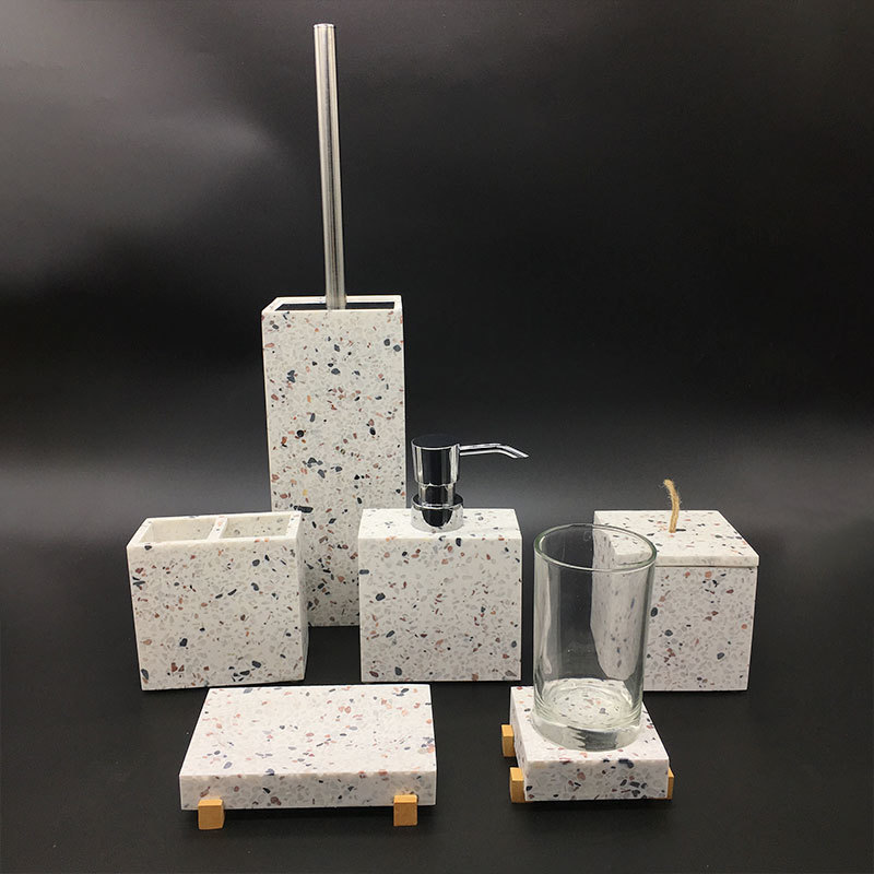 Modern color sand stone TERRAZZO Resin bathroom accessories set