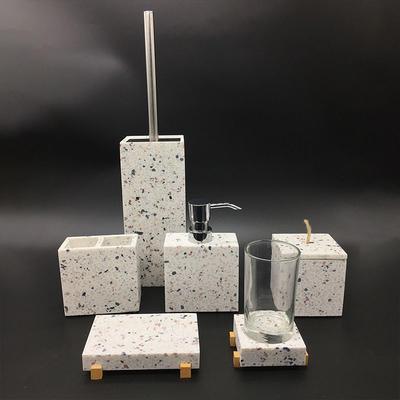 Modern color sand stone TERRAZZO Resin bathroom accessories set