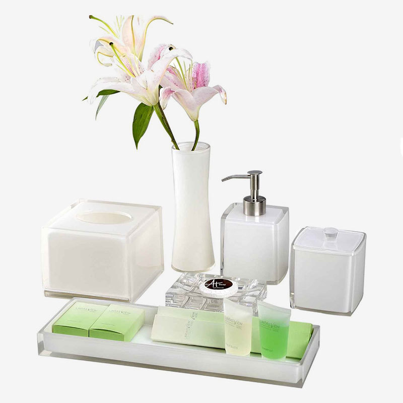 Elegant White 100% Clear resin Bathroom Accessories Set