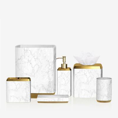 Elegant White Marble resin Bathroom Accessories Set