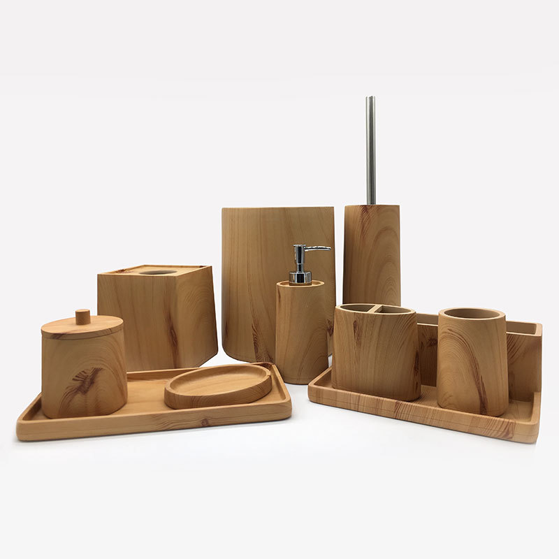 High quality Imitate Wood Resin Bathroom Accessories Set