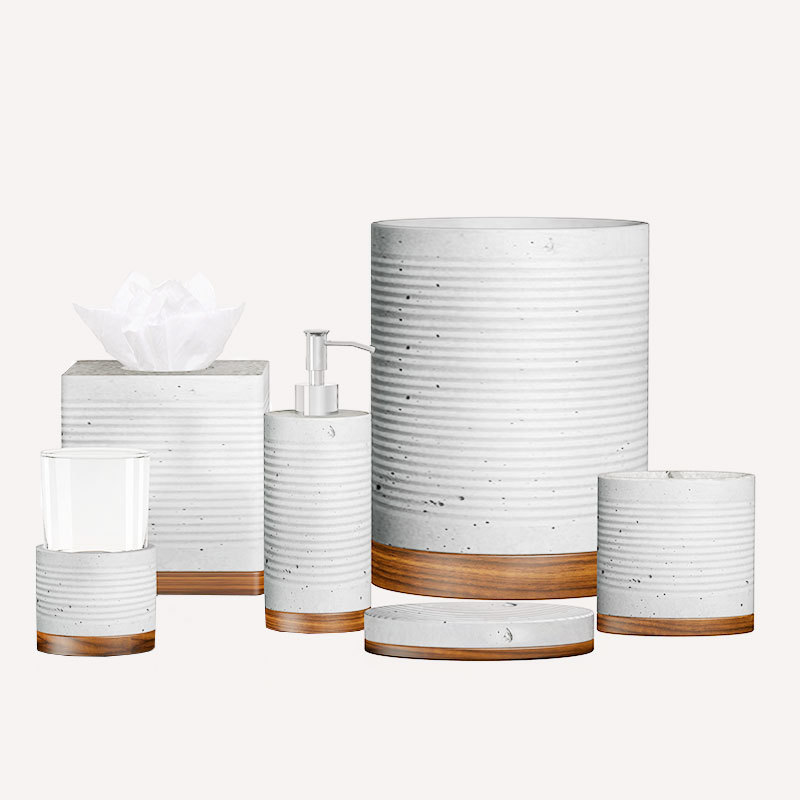 Simple lines Grey Concrete resin Bathroom Accessories Set