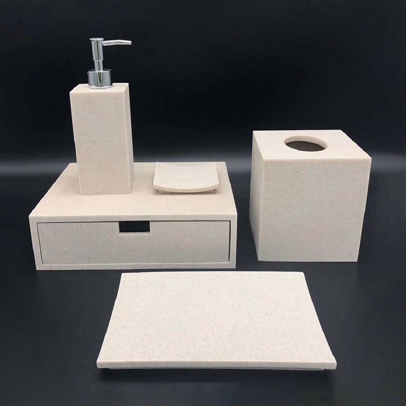 Simple Beige Sandstone Bathroom Accessories Set for Hotel