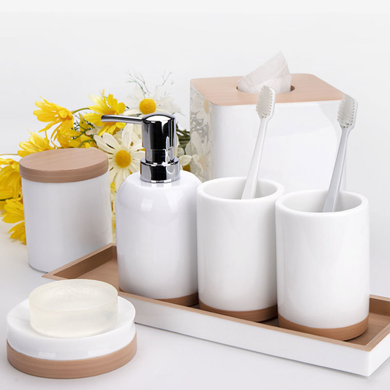 Luxury White with imitate wood 100% resin Bathroom Accessories Set