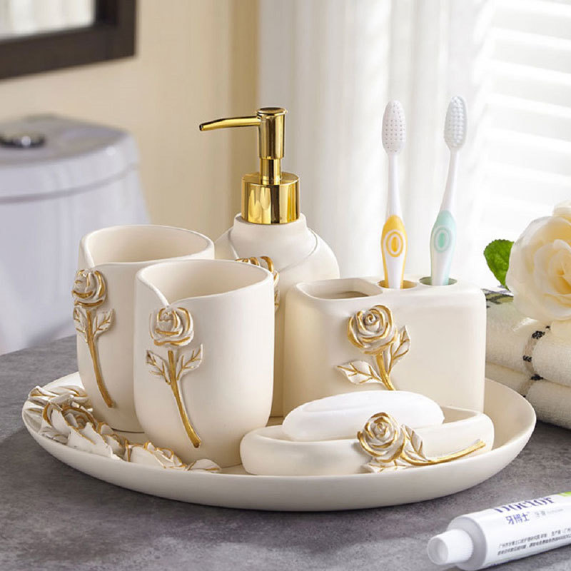 Elegant Hand painted Rose Gold Resin Bathroom accessories set