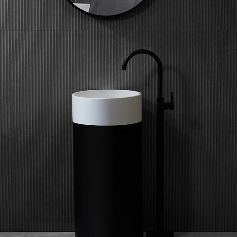 High-end Black and White Cylinder Resin Standing Wash Basin